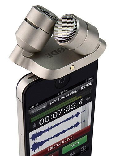 Rode Ixy.  Capturing high-quality audio with your iPhone or iPad without additional equipment is pretty much impossible. If you need to record crisp video voiceover this 24-bit stereo microphone designed specifically for your iPhone & iPad is what you'll want.