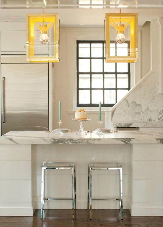 white marble kitchen...love the lighting!