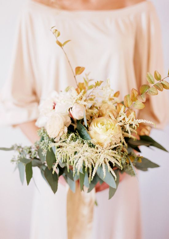 White ranunculus and peony bouquet