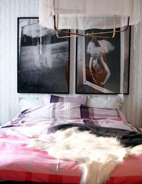 Art above a pink comfy bed. #bedroom #decor #style #girlie