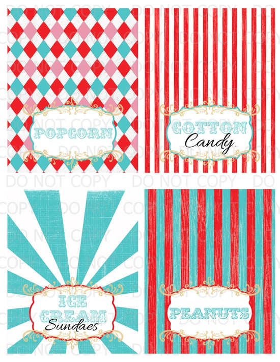 Printable DIY Vintage Circus colorful Table Tent Food Labels- 4 designs customized. $6.00, via Etsy.