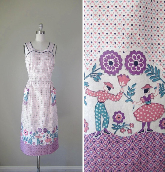 Vintage 1940s Dress // 40s Cotton Hearts by RevolvingStyles, $74.00