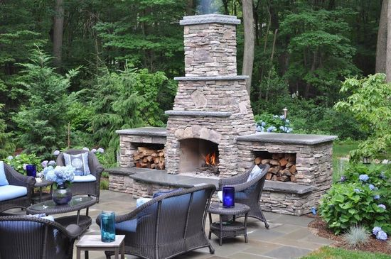 backyard outdoor fire paver fireplace