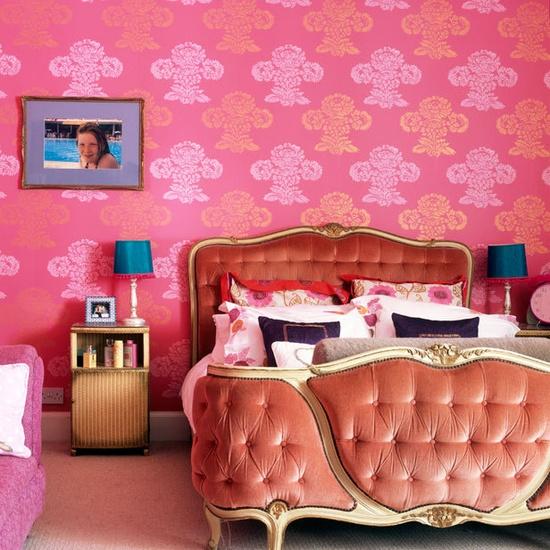 Bedroom, Girl's Bedroom, Pink, Wallpaper, Eclectic, Velvet, Tufting