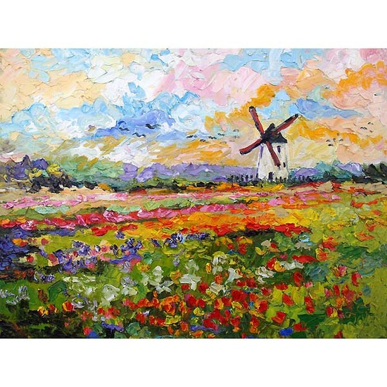 Tulips Grow Wild Spring Countryside Impressionist Original Oil Painting on Linen by Ginette. $1,200.00, via Etsy.