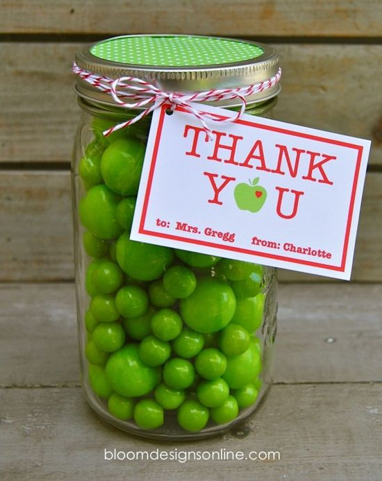 Teacher Appreciation Mason Jars with free tags
