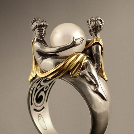 TWO BEAUTIES silver & 14k gold Pearl ring. .