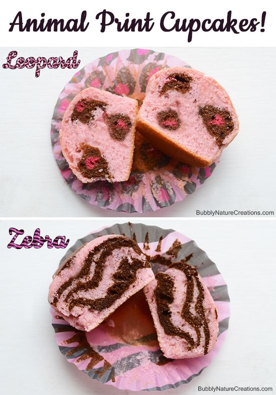 Animal Print Cupcakes! {Leopard Cake and Zebra Cake}  Make these cute designs inside the cupcakes. Perfect for baby showers or birthday parties.  Make them in any color scheme!