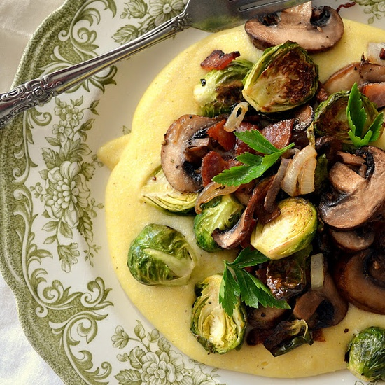 Polenta with Brussels Sprouts and Mushrooms by theviewfromthegreatisland as adapted from More Magazine #Polenta #Brussel_Sprouts #Mushrooms #theviewfromthegreatisland