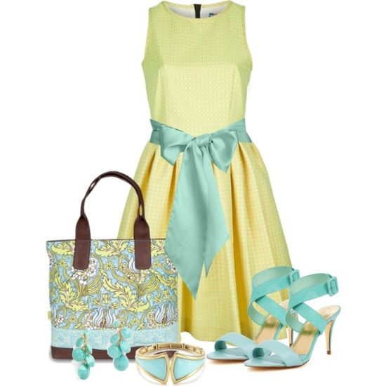 Summer Aqua n Yellow by stylesbyjoey on Polyvore