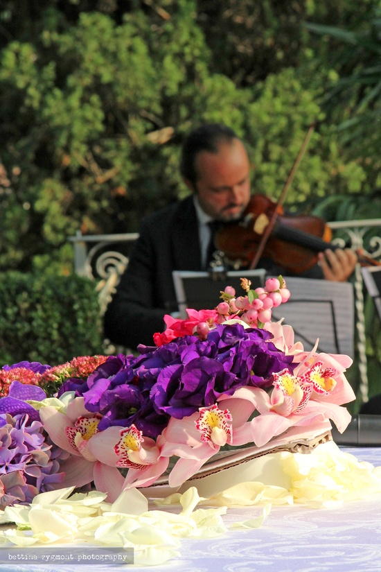 Flower arrangement and violinist
