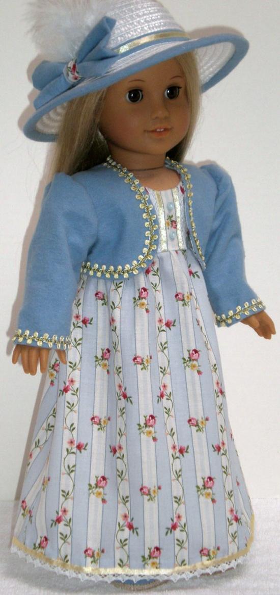 CAROLINE ABBOTT REGENCY Dress 4pc  American Girl. $75.00, via Etsy.