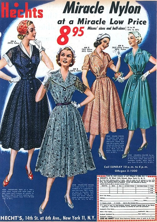Hecht's ad featuring four timelessly lovely dresses, 1952. #vintage #1950s #fashion #illustrations