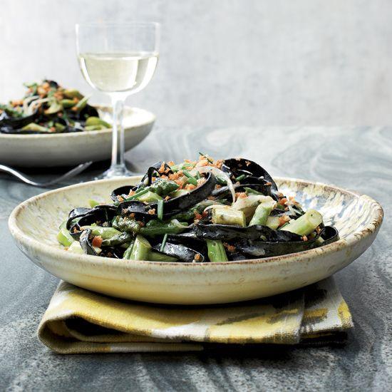 Squid Ink Pasta with Asparagus // More Fast and Easy Pastas: www.foodandwine.c... #foodandwine