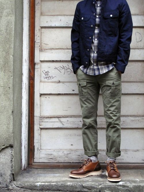 Cargo pants, Plaid Shirt, Navy Workers Jacket. Men's Fall Winter Street Style Fashion.