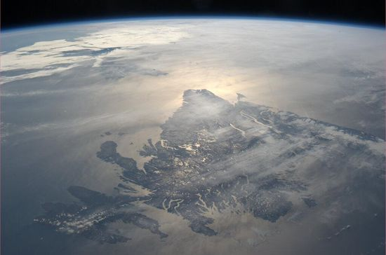 Newfoundland from orbit. Photo by Commander Chris Hadfield on the International Space Station.