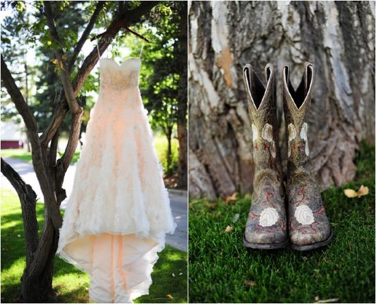 Wedding Gown With Cowboy Boots