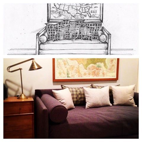 Rendering coming to life. Bedroom design by Jenny Johnston Interiors, rendering by Jane Gianarelli