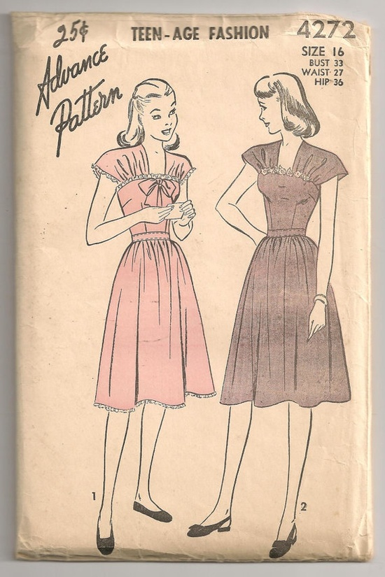 I really like the detailing at the top of the bodice on both of these lovely 1940s dresses. #1940s #vintage #teen #fashion #sewing #pattern #dress #bow