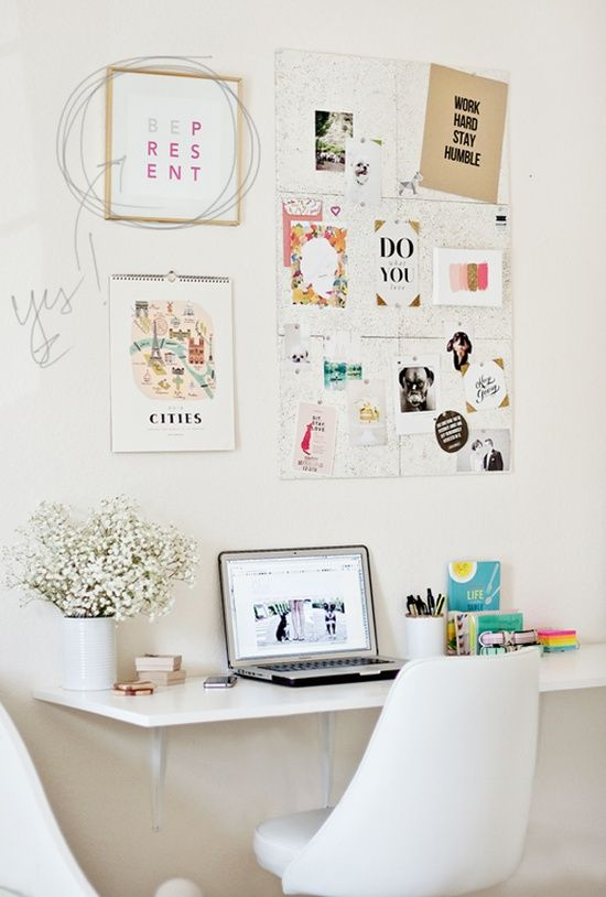 THIS IS IT! Love how the desk is a shelf and that corkboard is a MUST HAVE! also loving the white desk