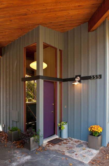 modern entry by Custom Design/Build, Inc. - Purple. As with orange, using too much purple can veer toward gaudy very quickly. Stick to a small dose and try purple on your home's front door. Whether you like warm or cool tones, purple can — surprisingly — complement almost any exterior palette.