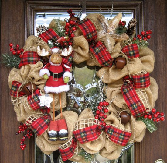 30 BURLAP MOOSE CHRISTMAS Wreath by decoglitz on Etsy