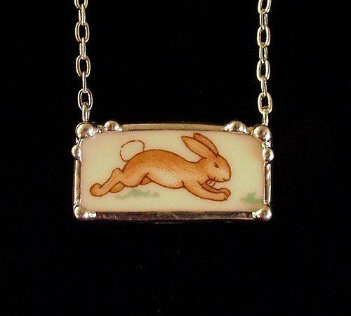 Bunnykins running bunny broken plate broken china jewelry rectangular necklace. $65.00, via Etsy.