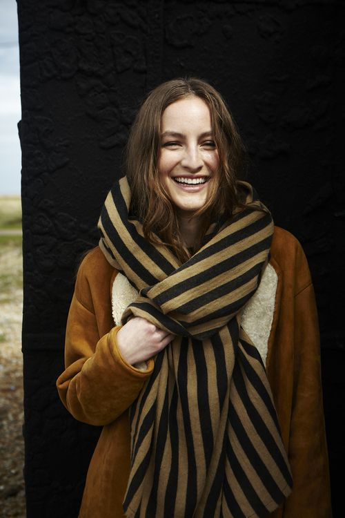 oversized striped scarf