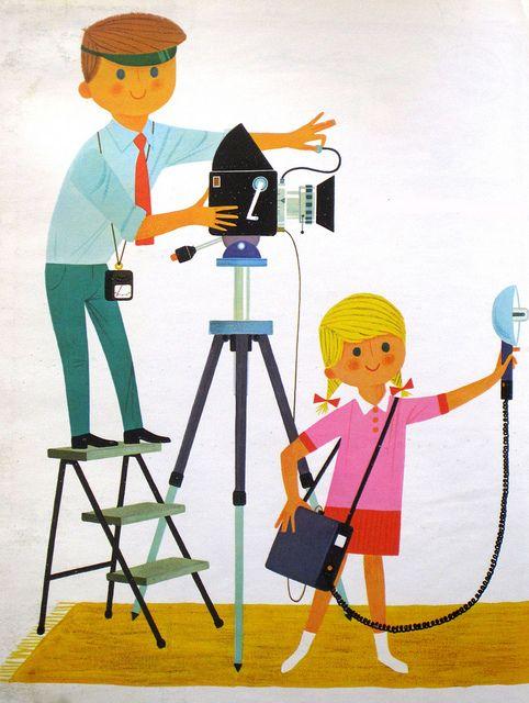 Retro children's illustration, lil photographers!