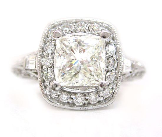 14k white gold princess cut diamond engagement ring by KNRINC, $7297.00
