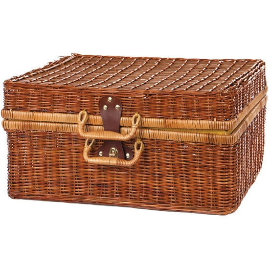 ...picnics...we used to take them all the time when we were growing up - Vintage Wicker Picnic Trunk
