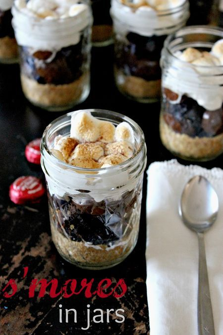 Simple, quick, last minute dessert for National S'mores Day.  S'mores in a Jar.