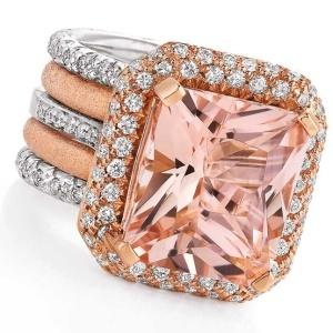 Morganite and diamond ring set