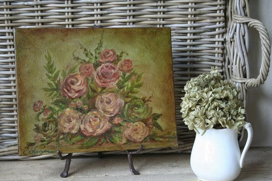 Original Oil Painting Gathered Roses by TheFarmhousePorch on Etsy, $125.00