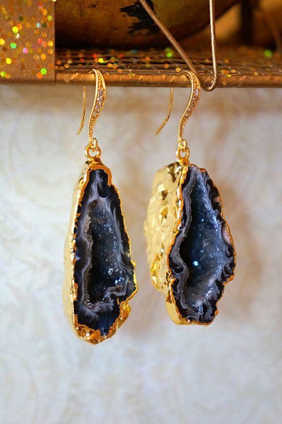 Shimmering Starry Night Geode Druzy Earring Black by VintagePinch