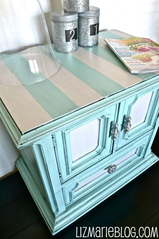 """stripes. it would be fun to refinish an old piece of furniture like this HAVE TO DO THIS :D"" #furniture #painting"