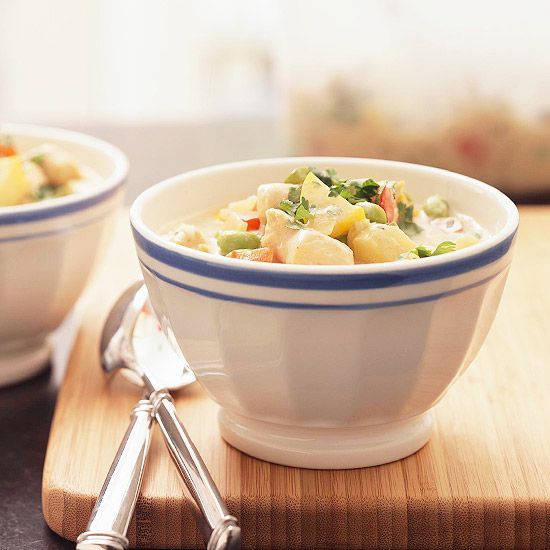 For a dinner the whole family will love, try this Asian-inspired Chicken Edamame Chowder. More slow cooker recipes: www.bhg.com/...
