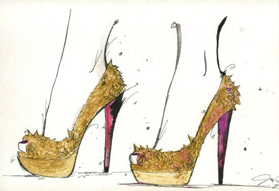 Brand new #watercolor and pen #fashion #illustration in my Etsy shop. $25, The Golden Heels. #louboutin