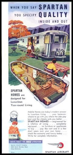 1955 Spartan Travel Trailer- I can't tell what I like more, this ad or the trailer.
