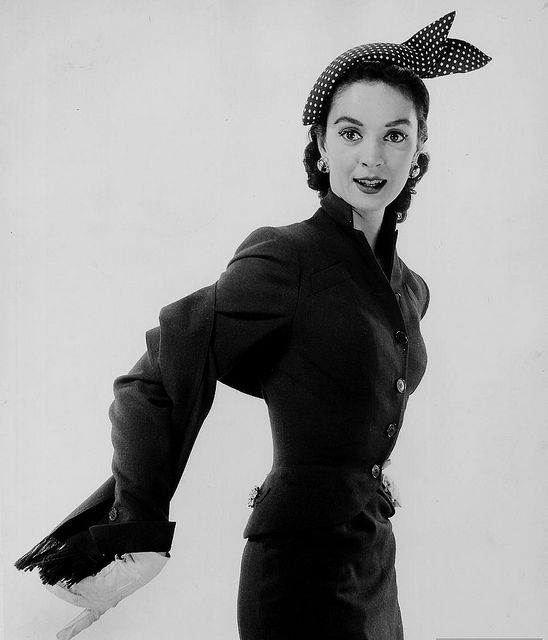 Oh how I adore her sweetly sculptured polka dot hat. #vintage #1950s #fashion #hat
