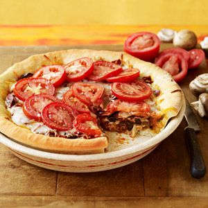 Deep-Dish Veggie and Pepperoni Pizza from familycircle.com #myplate #protein #veggies