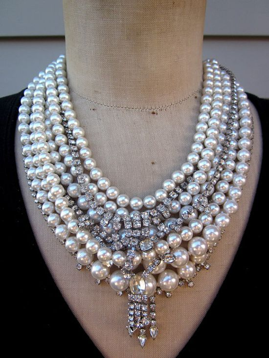 Vintage Pearl Necklace Rhinestone Necklace Wedding by rebecca3030,