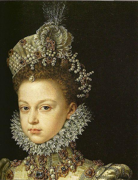 Infantin Isabella Clara Eugenia at age 13 (detail), Alonso Sanchez Coell,1579
