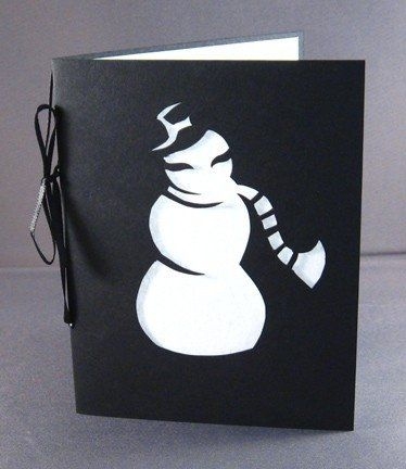 Snowman silhouette holiday greeting card