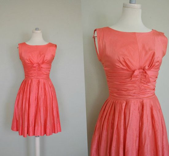 Coral 1950s Dress