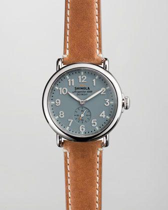 Shinola 41mm Runwell Men's Watch, Light Blue