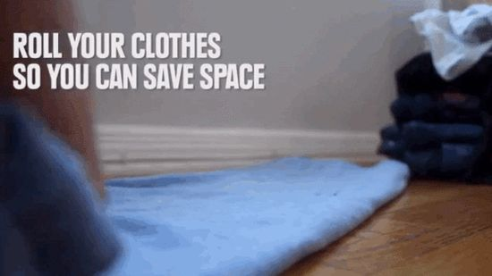 Rolled clothing takes up less space than folded clothing.