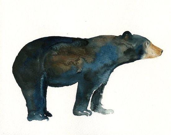 BEAR by DIMDI Original watercolor painting by dimdi on Etsy, $25.00