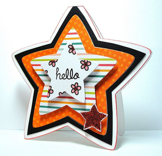 Lawn Fawn - A Birdie Told Me, Puffy Star Stackables dies _ Really cute shaped and layered card by Barb _ Hello Star