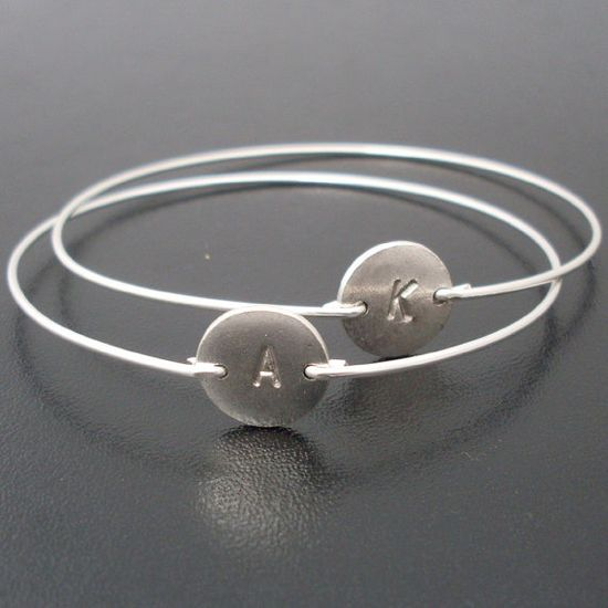 Personalized Custom Initial Bangle Bracelet  by FrostedWillow, $28.00